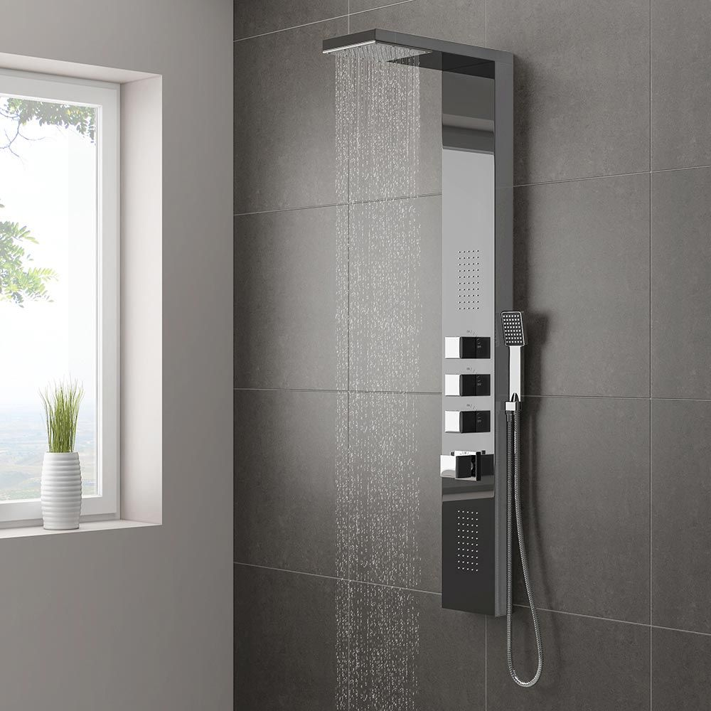 Matthew priced this one Discover the beautifully crafted Milan Modern Dark  Chrome Tower Shower Panel