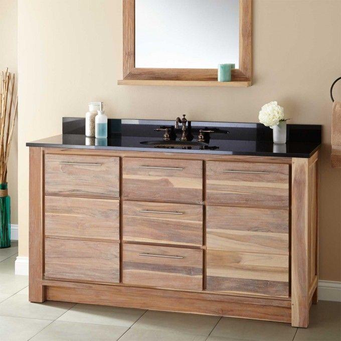 "60"" Venica Teak Single Vanity for Undermount Sink - Whitewash"