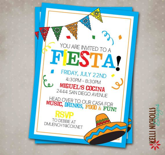 Custom Mexican Fiesta Party Invitation Cinco de Mayo Invite – Mexican Fiesta Party Invitations