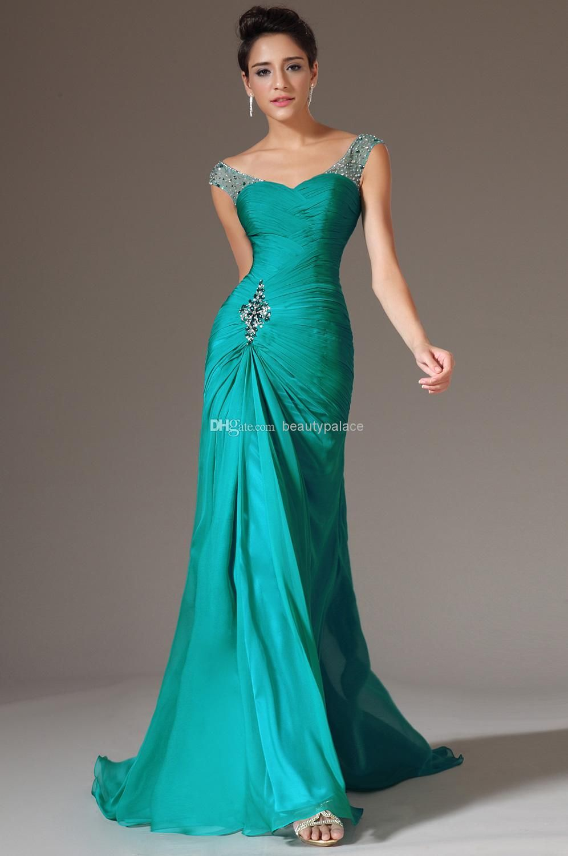 Cheap Best Selling Mermaid V Neck Floor Length Turquoise Chiffon Cap ...