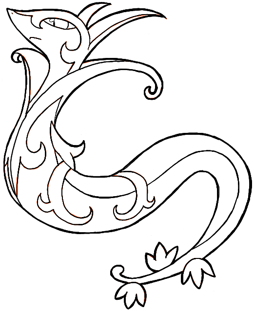 line art drawing of serperior by kyouyoshino on deviantart