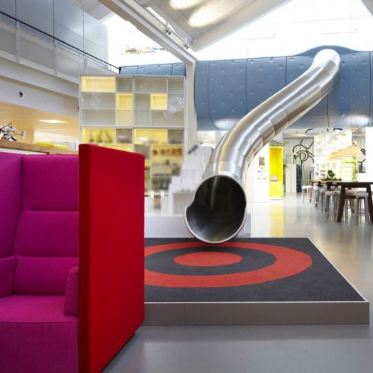 awesome slide in the lego office! this is gonna be my future home!