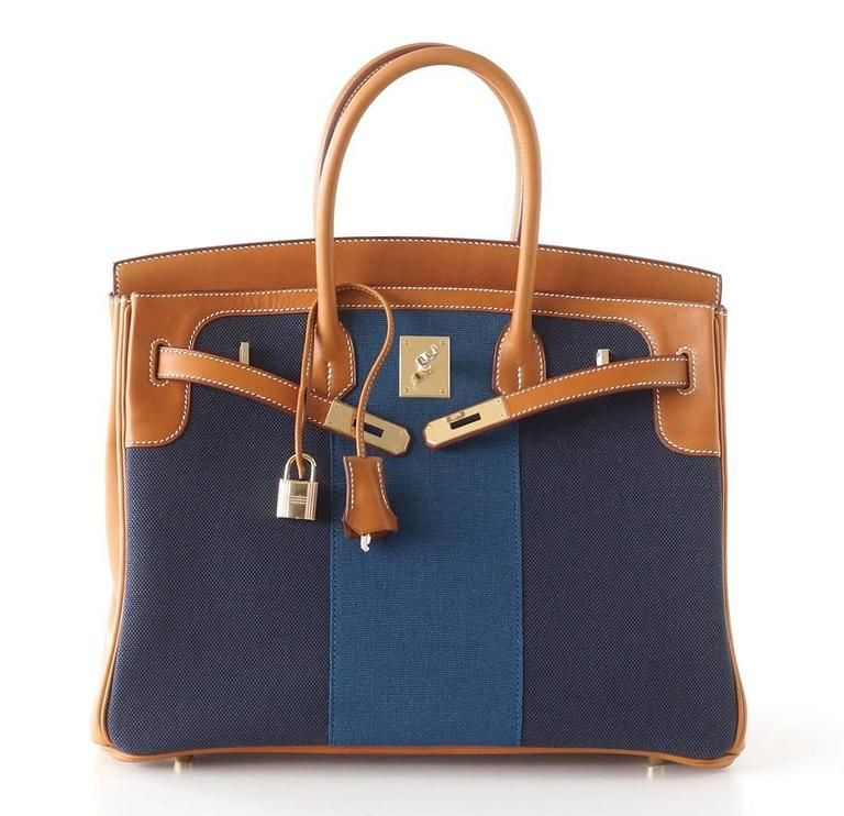 e6807b6443d6 Hermes Birkin 35 Bag Blue Flag Toile Barenia Leather Permabrass Limited  Edition