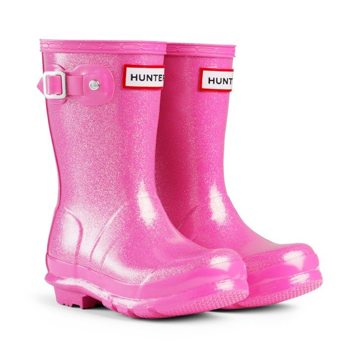 Girl's Hunter Original Kids Glitter Finish Wellington Boots – Fuchsia