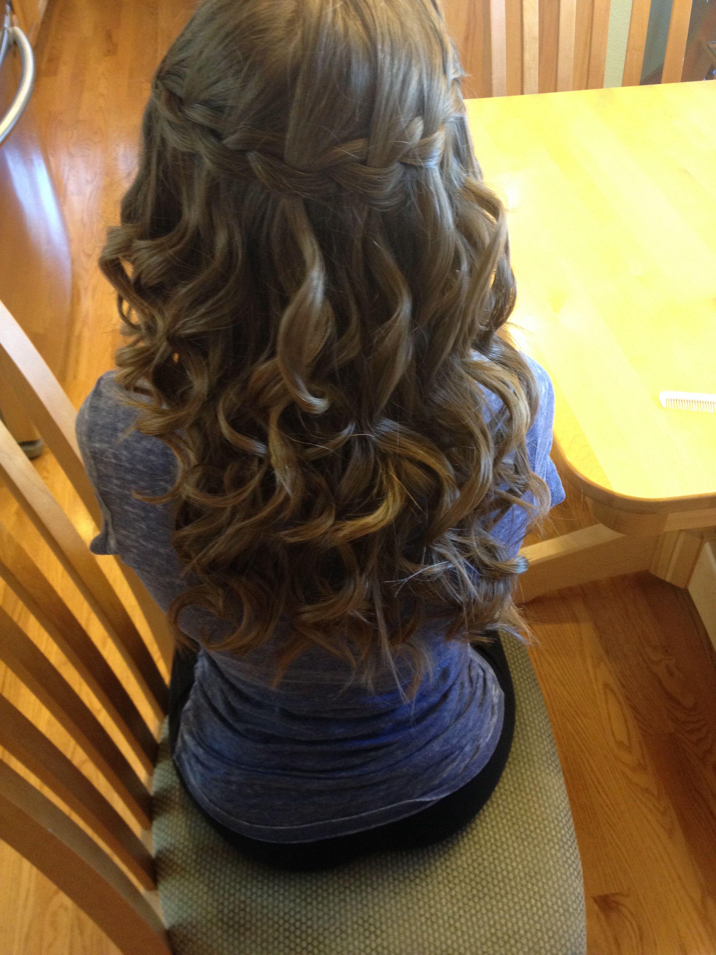 Waterfall braid with loose curls (: | Hair