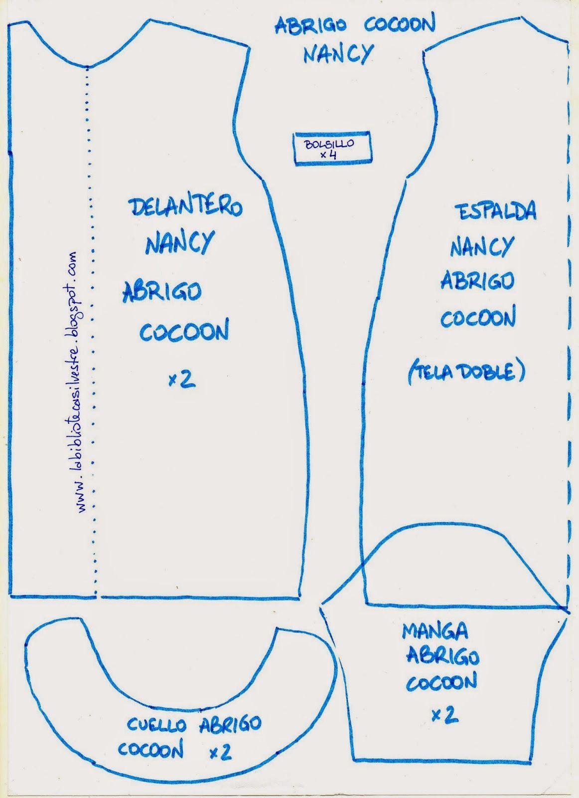 La biblioteca silvestre: Abrigo Cocoon para nancy (patrón) … | Bricolaj…