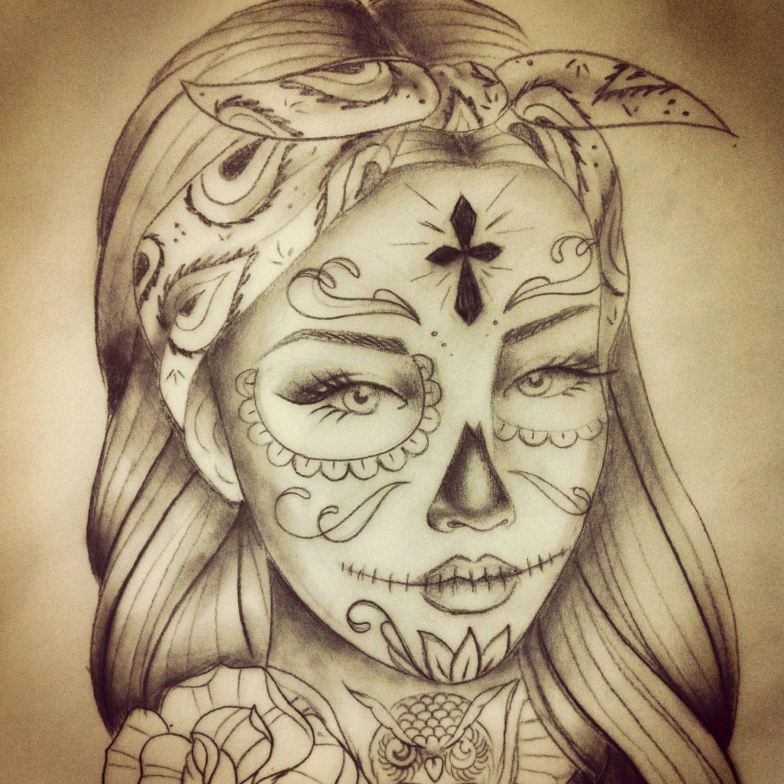 La Santa Muerte Tattoo Designs Elegant Vanessa M Califasmade13 On Pinterest Skull Girl Tattoo Tattoo Design Drawings Sleeve Tattoos
