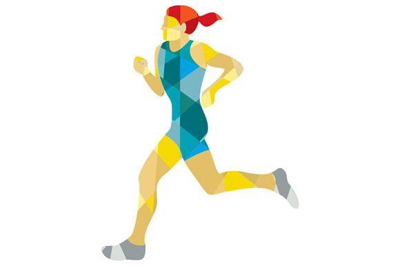 Female Triathlete Marathon Runner Lo - Illustrations - 1