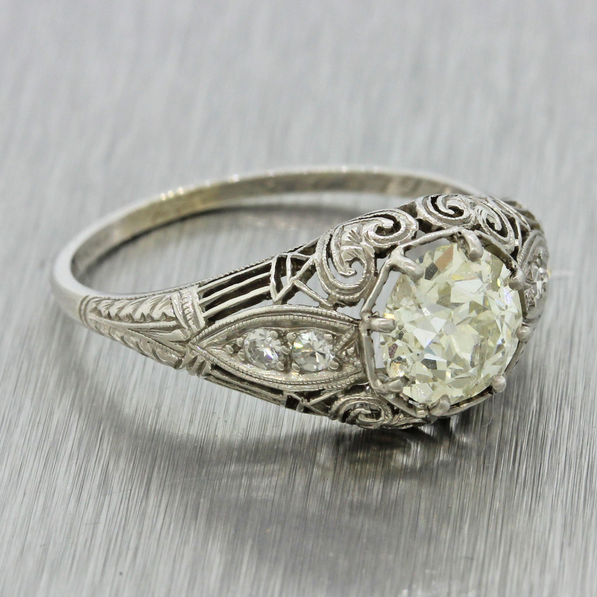 This is an antique Art Deco platinum diamond engagement