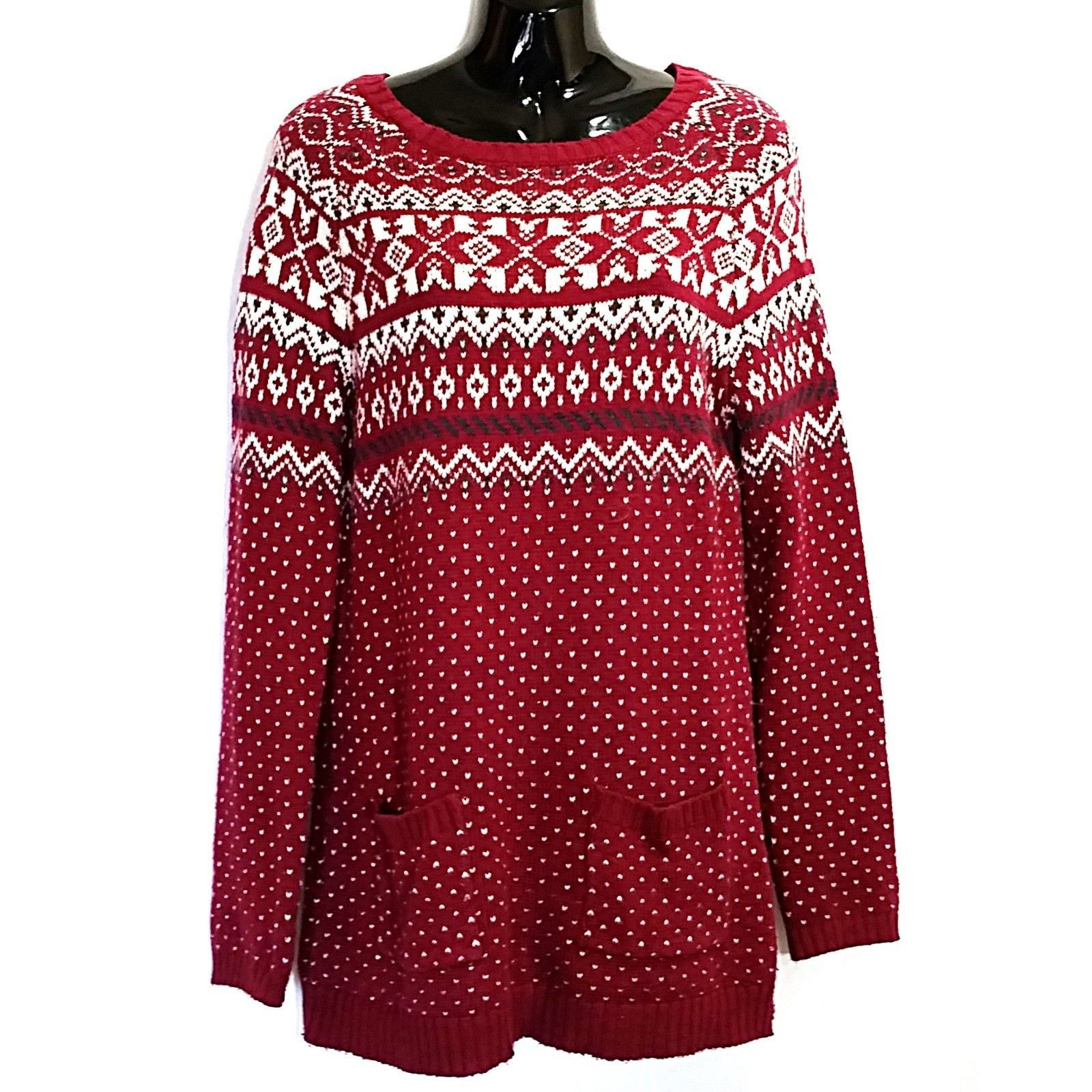 Cranberry Red Fair Isle Sweater Fat Face Womens Size 12 Knit Boat ...