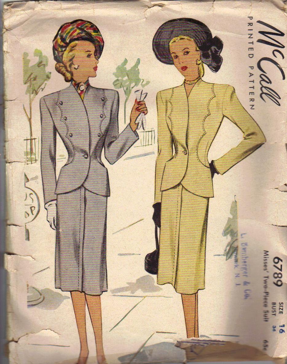 Mccall Vintage Sewing Pattern 1930s Ladies Dress Women S Suit Skirt