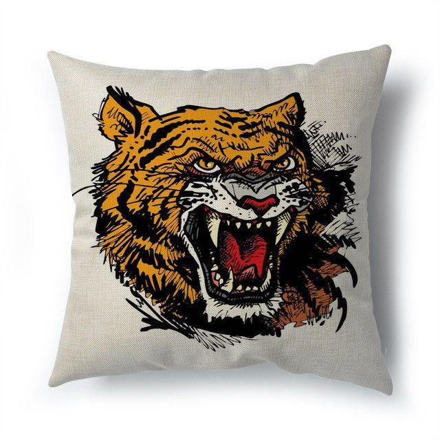 Tiger Head Print pillow linen decorative cushion covers Madrid real betis for sofa car living room ken paris home decor pillows