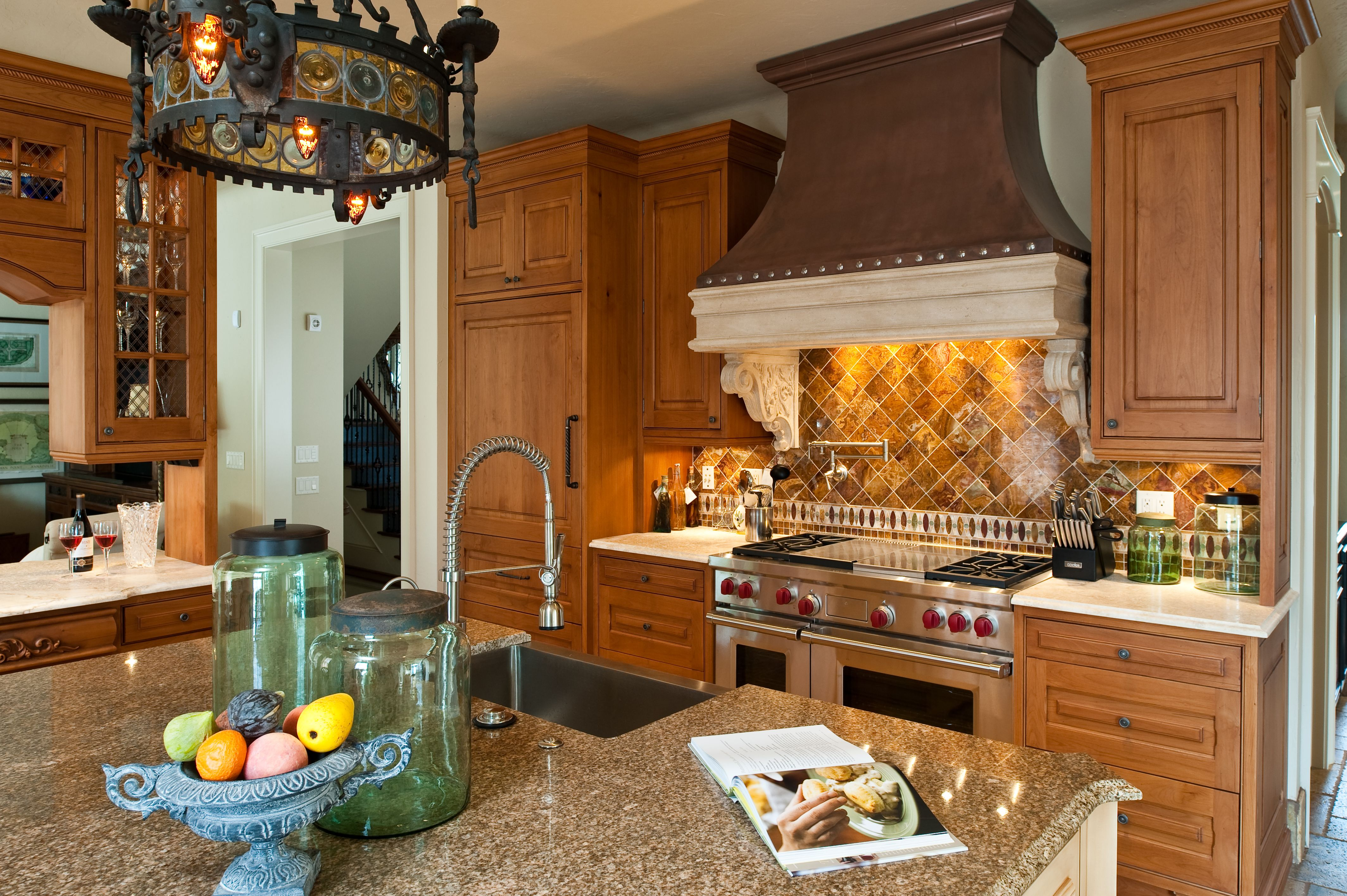 Traditional Kitchen Custom Made Copper Hood With Other Beautiful Accent Pieces