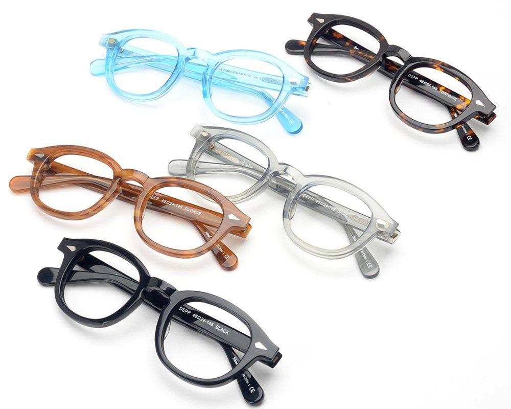 6a65883ad7 EyeGlow Johnny Depp Lemtosh Same Style Acetate Optical Eyeglasses Frames Men  And Women Retro Myopia Prescription Oval Glasses