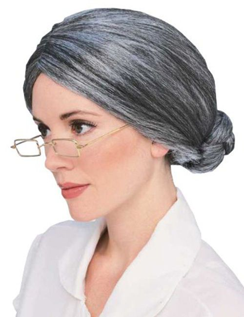 Grandma Wig Granny Grey Bun Hair Old Lady Womens Costume Accessories  Theater Vtg  Vtg 657022c6c0
