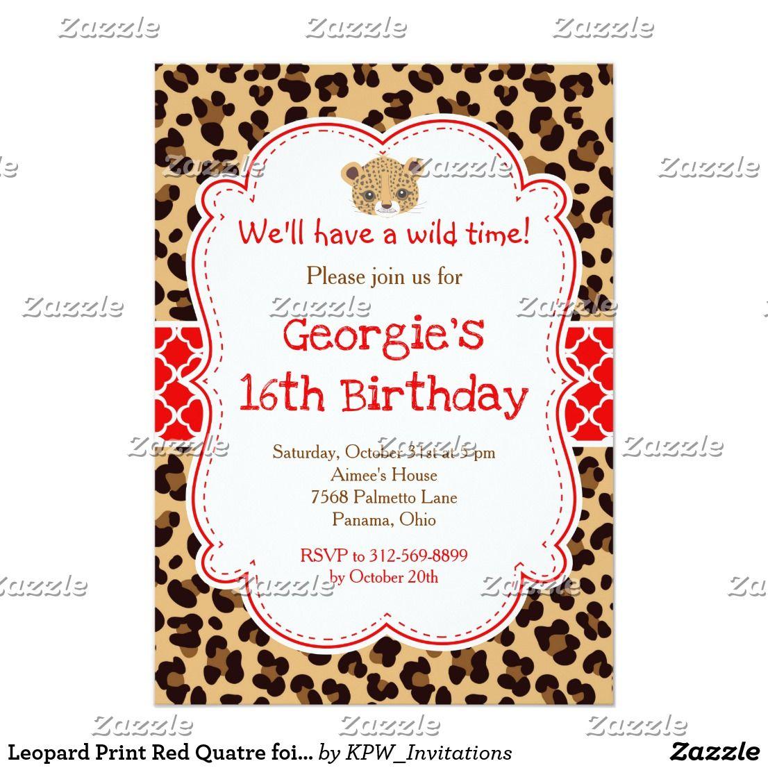 Leopard Print Red Quatre foil Birthday Party Invitation   Birthday ...