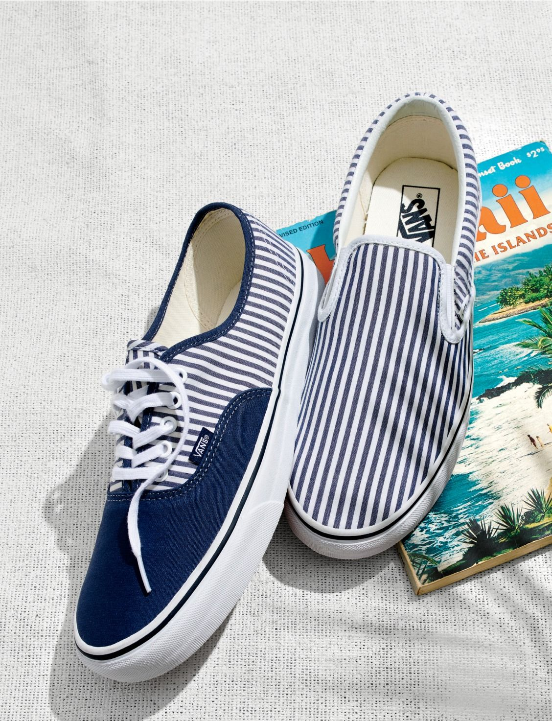 "c418a475b14bdc J.Crew men s exclusive seersucker striped Vans®  the only thing that says  ""vacation vibes"" more clearly than your autoreply email."