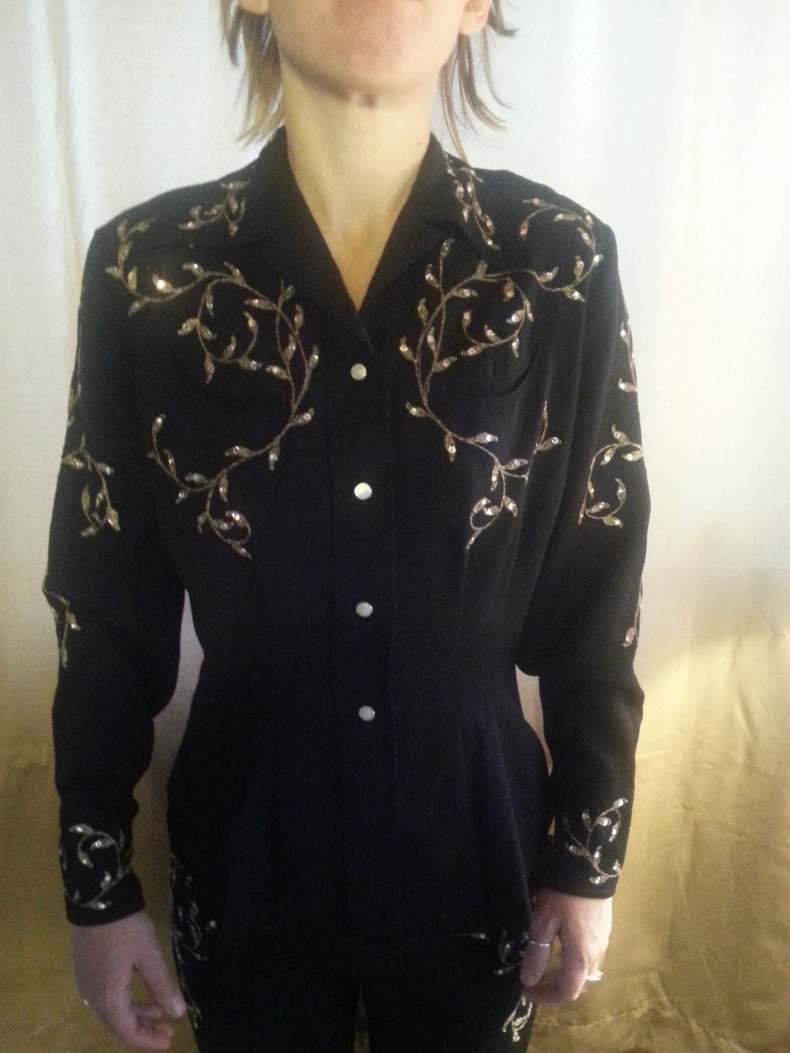 1950s Stunning Black Gabardine Wool 2 Pc Womans Western Outfit
