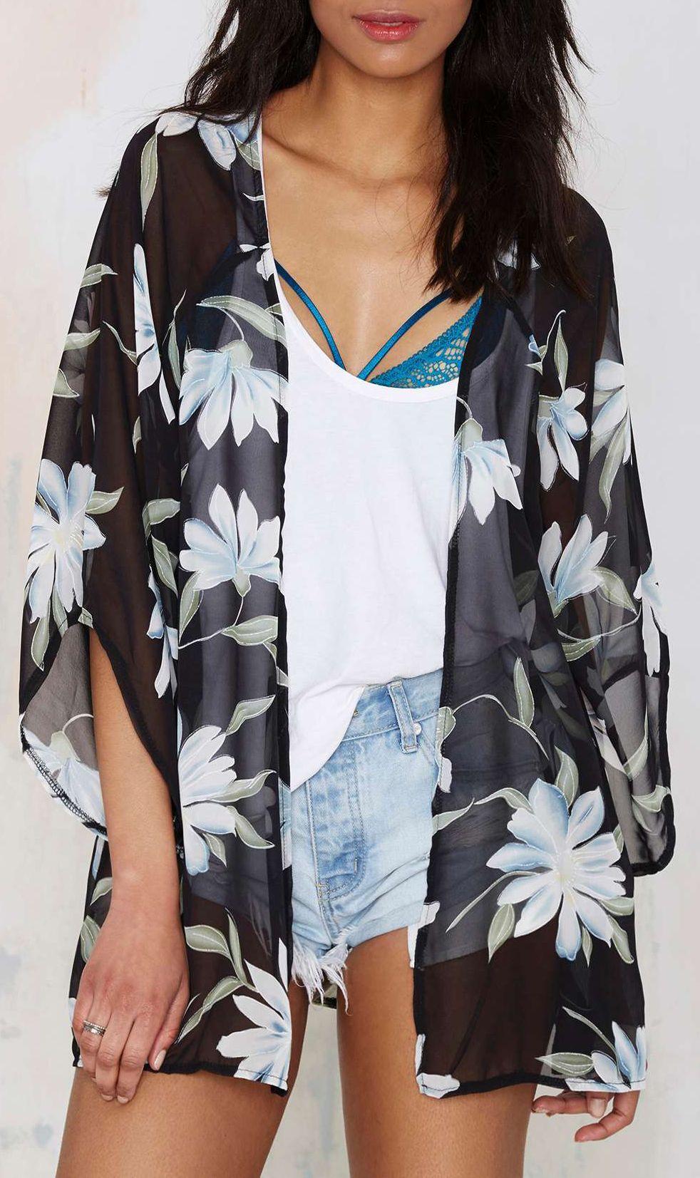 037fca6c1 Floral chiffon kimono | Style | Chiffon kimono, Fashion, Kimono fashion