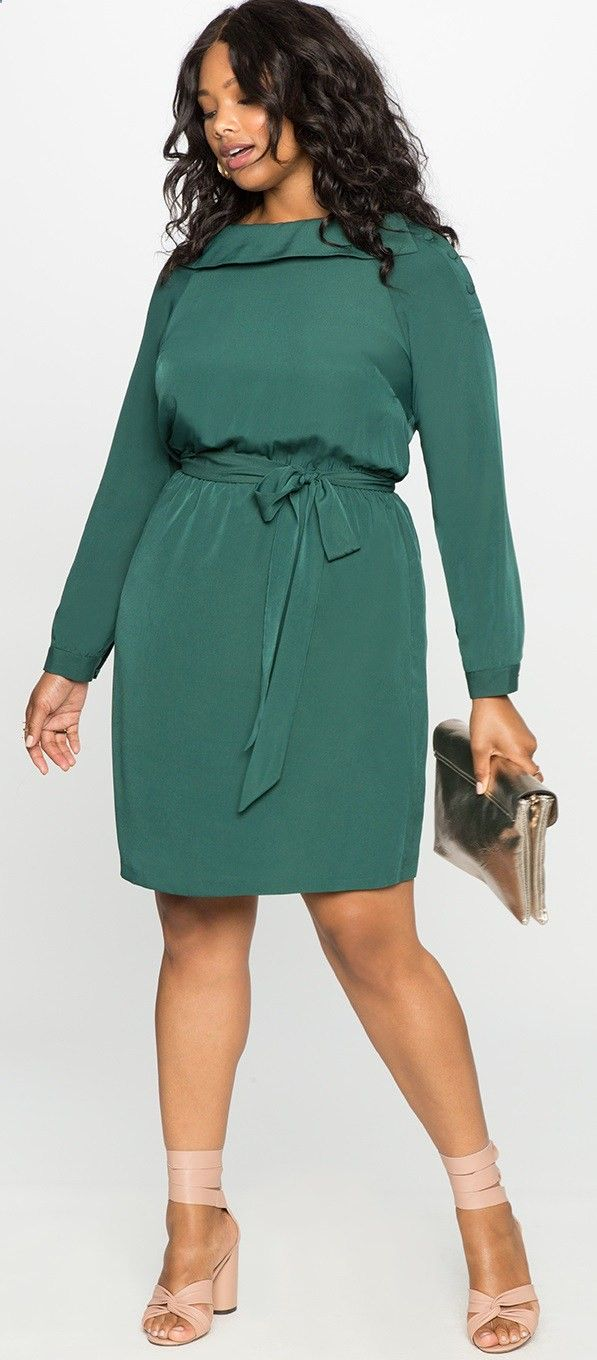 12 Plus Size Holiday Green Dresses with Sleeves - Plus Size Party ...
