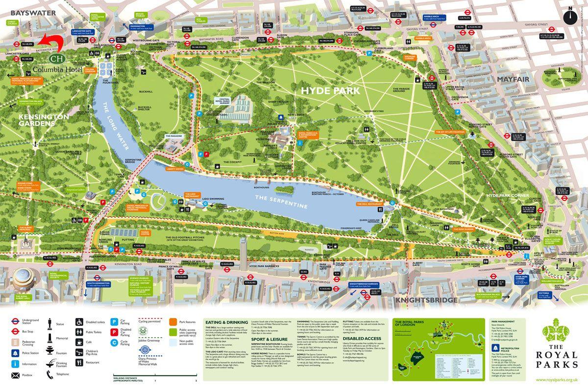 Map of Hyde Park (London, UK) | United Kingdom | Pinterest | Parks ...