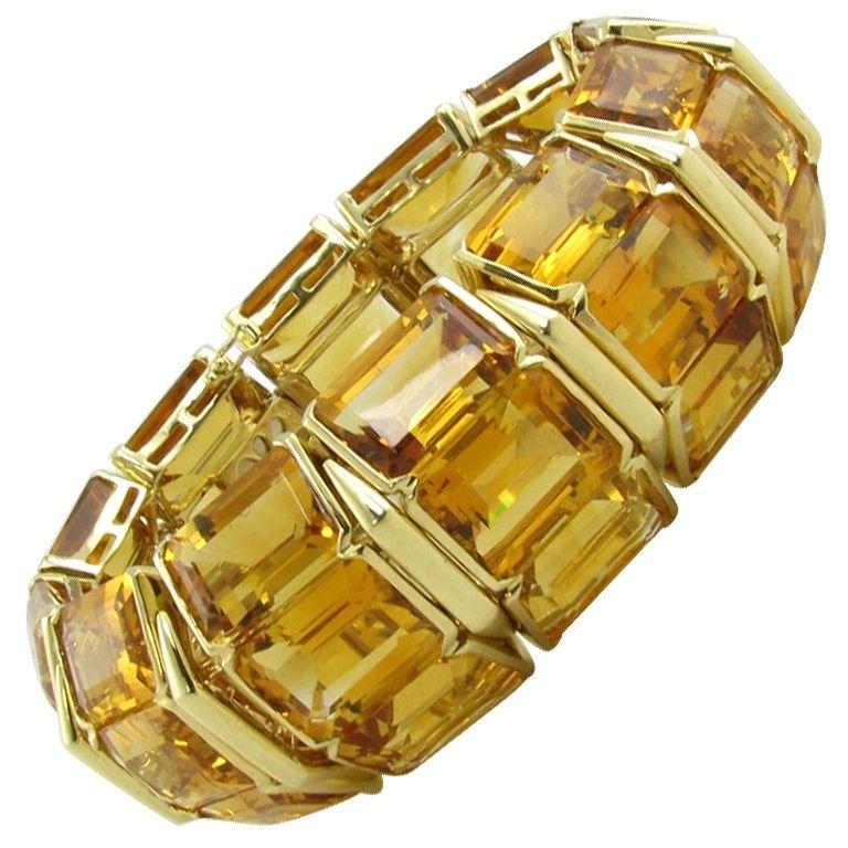 18K gold and citrine cuff style bracelet, circa 1990