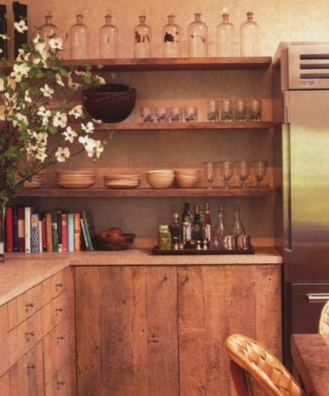Rough sawn oak cabinets; soapstone counter?; open shelving ...