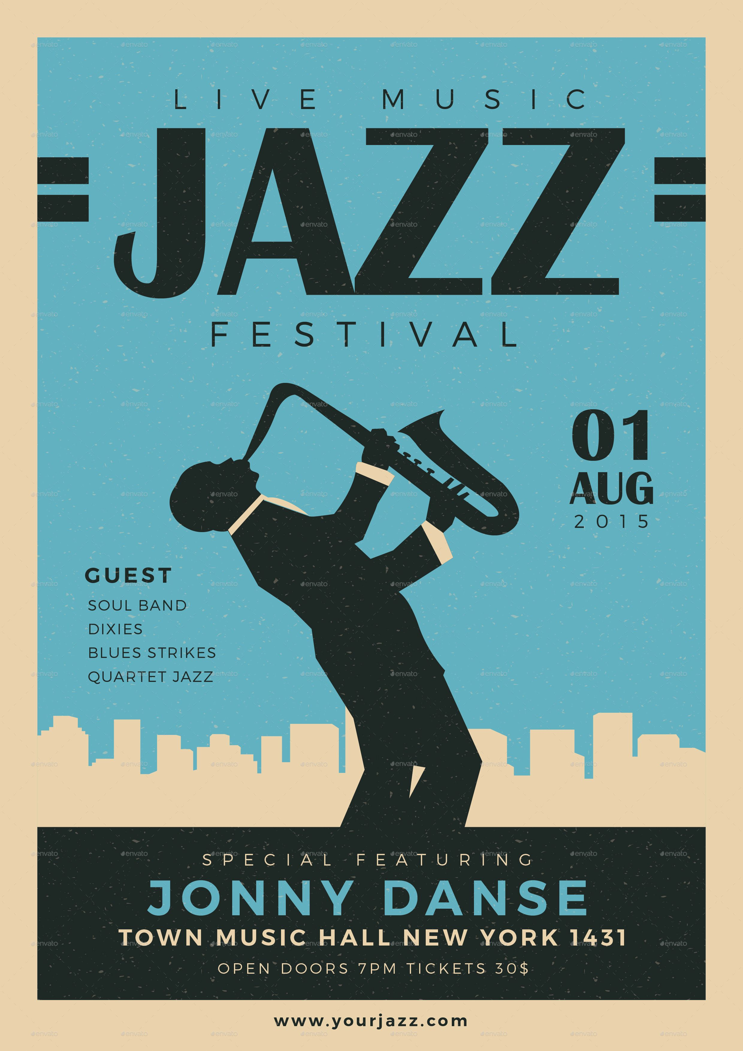 02 Old Jazz Festival Flyer Blue