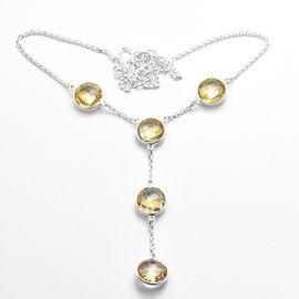 Natural Citrine 18 Sterling Silver Necklace Gemstone: Citrine Stone Size: 11 MM Stone Shape: Briolite Weight: 9.3 Gram Necklace Size: 18 CM