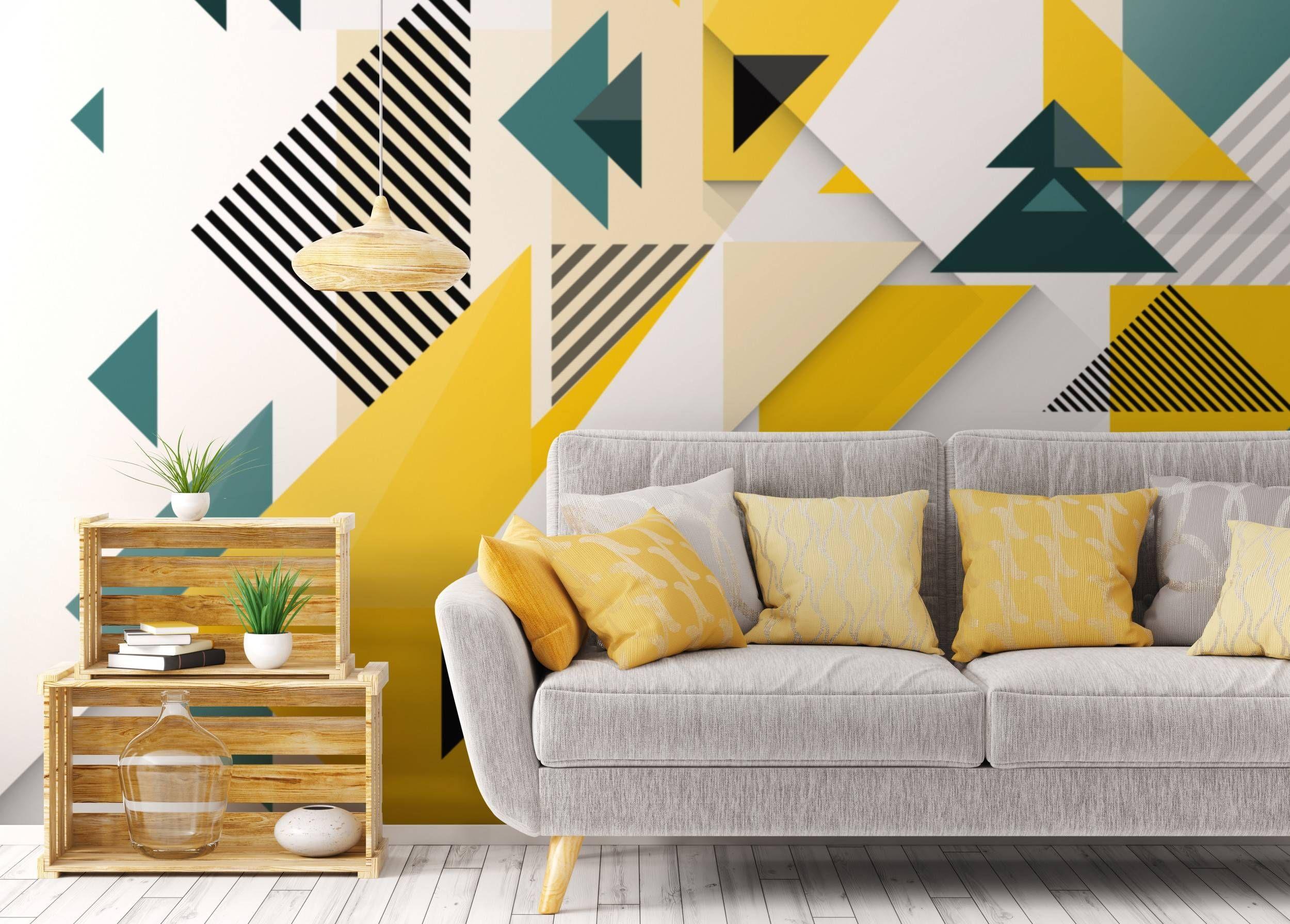 Happy Geometry Living Room Contemporary Wall Murals Abstraction Pixers We Live To Change Decoracion De Muros Decoracion De Interiores Pintura Decoracion De Muebles