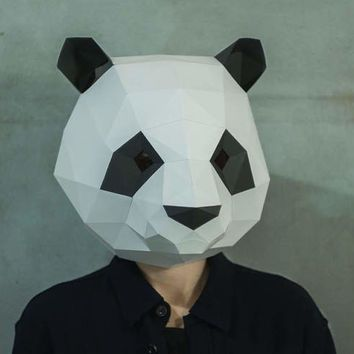 Make Panda Mask,DIY 3D mask,PDF,Pattern mask,Polygon Paper Mask - paper face mask template