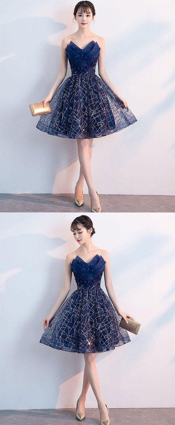 Dark blue v neck tulle sequin short prom dress blue homecoming