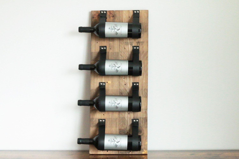 Support A Bouteille De Vin Mural edgard porte-bouteille en bois & cuir recyclé | wein, regal