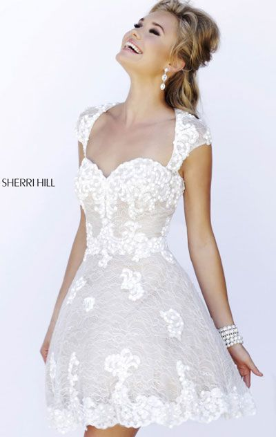 Affordable Ivory/Nude Sherri Hill 4331 Cap Sleeves Lace Short Homecoming  Dress 2015