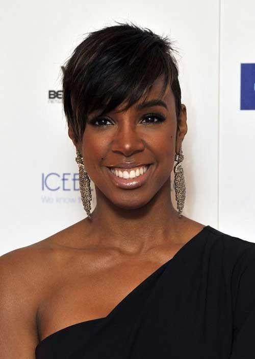 Side Swept Short Hairstyles For Black Women Rounded Face Edgy Short Hair Black Women Short Hairstyles Hair Styles 2014