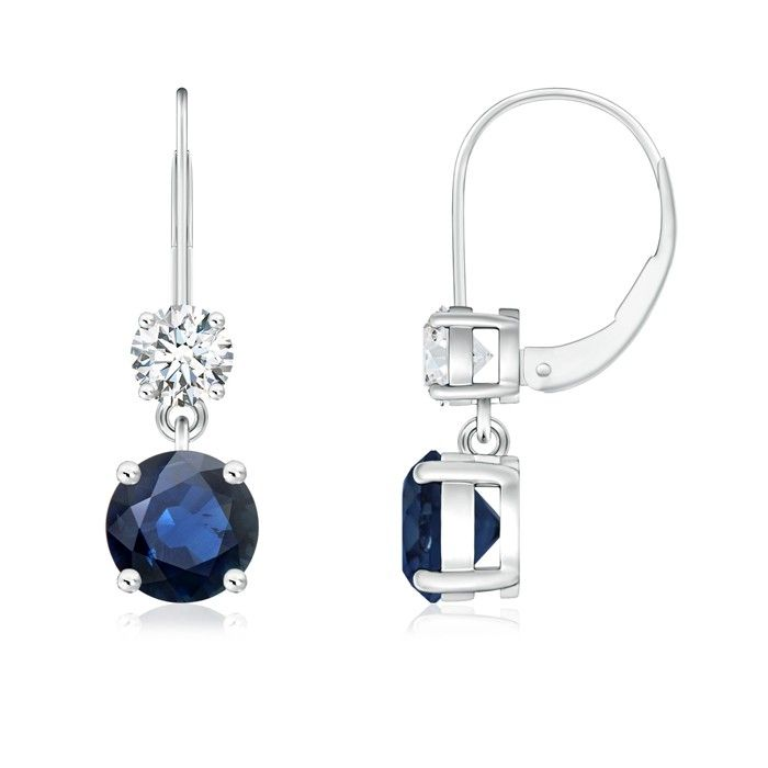 Angara Round Blue Sapphire Solitaire Earrings in Rose Gold LZbaZka7YK