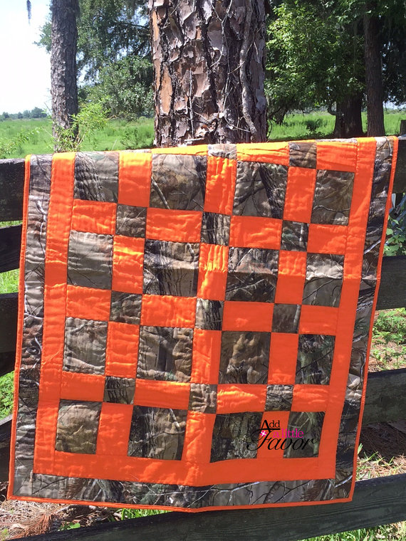 Real Tree Camo & Orange Hand Made Baby Quilt 36 by AddalittleFavor ... : camouflage quilts for sale - Adamdwight.com