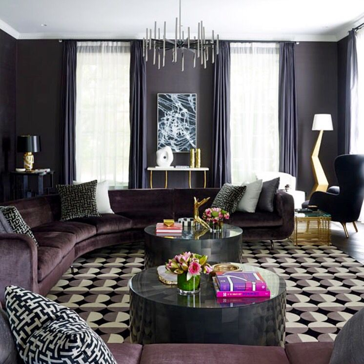 Elegant And Welcoming Living Room With Velvet Sectional Sofa. The Colour  Choice Of A Soft Purple Adds Luxury And Warmth While The Geometric  Patterned Rug ...