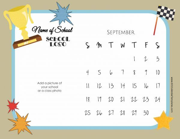 Free printable school calendar that can be customized Instant