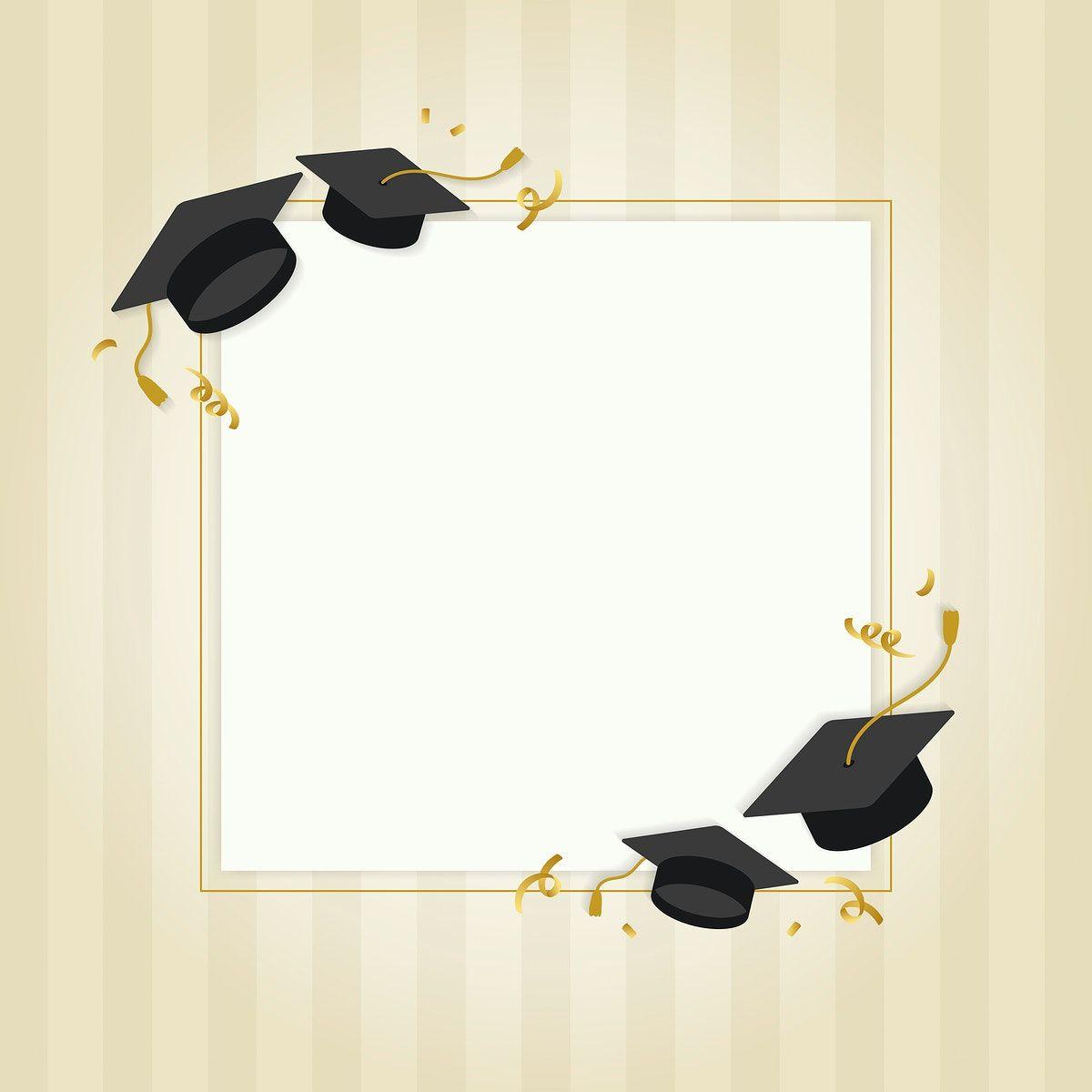 Download Premium Vector Of Graduation Background With Mortar Boards Vector Graduation Frame Graduation Images Vector Free