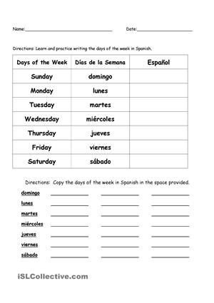image result for spanish worksheet days and months french and spanish class spanish. Black Bedroom Furniture Sets. Home Design Ideas