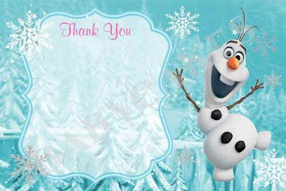 Olaf And Snowflake Printable Frozen Diy Party Thank You Card Templates Disney Themed 2015 Ne Frozen Birthday Theme New Years Eve Invitations Frozen Diy Party