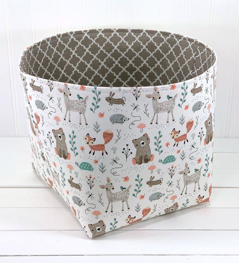 Woodland Nursery Fabric Storage Basket Fox Nursery Decor Organizer Storage Bin Mint And Gray Deer B Fabric Storage Baskets Fabric Storage Storage Baskets