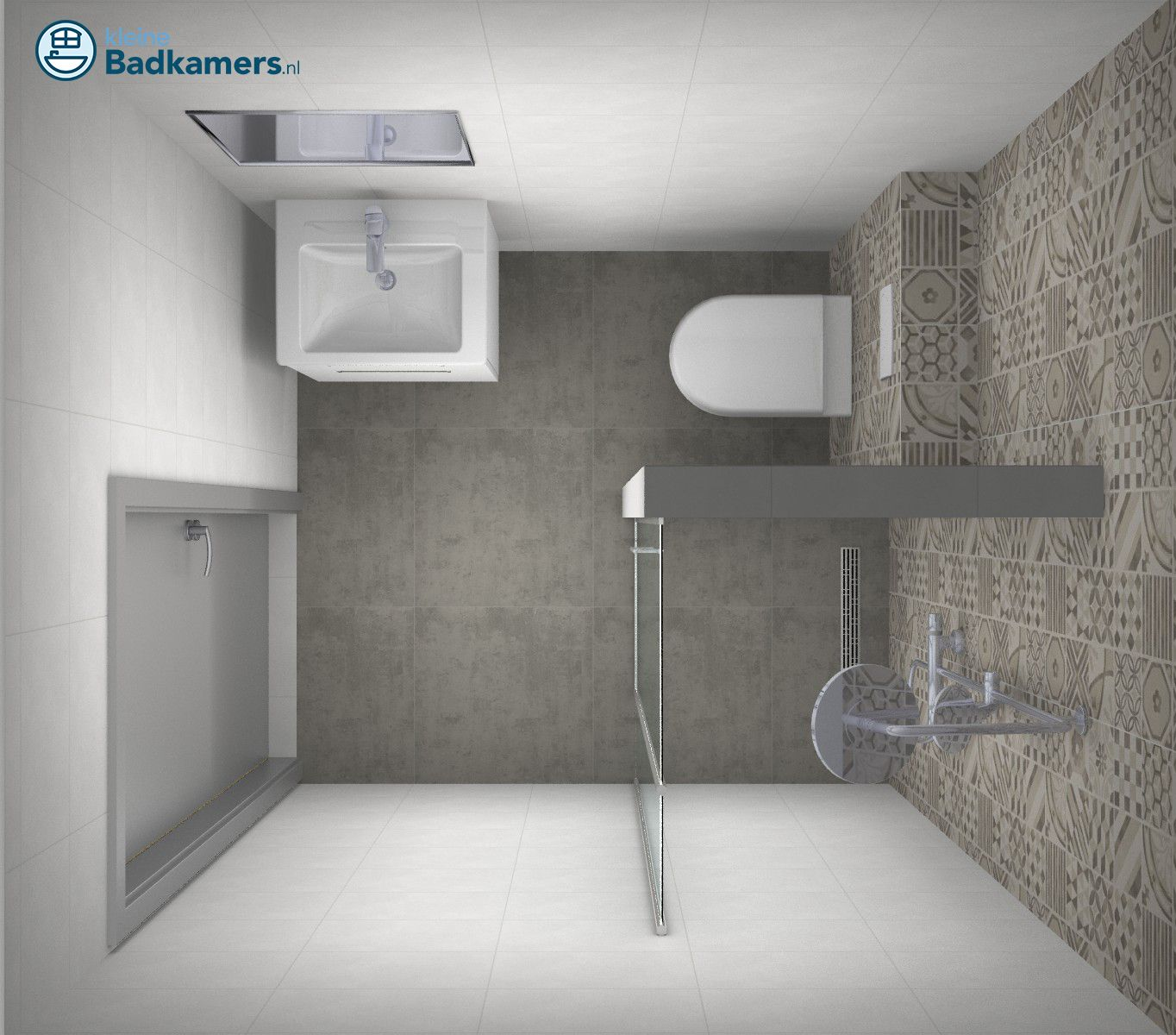 Kleine badkamer met trendy tegels kleine badkamers badkamer pinterest met - Kleine betegelde badkamer ...