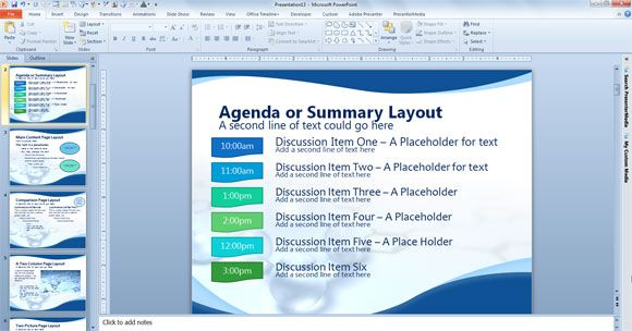 Agenda Or Summary Layout In Powerpoint Presentation  Powerpoint