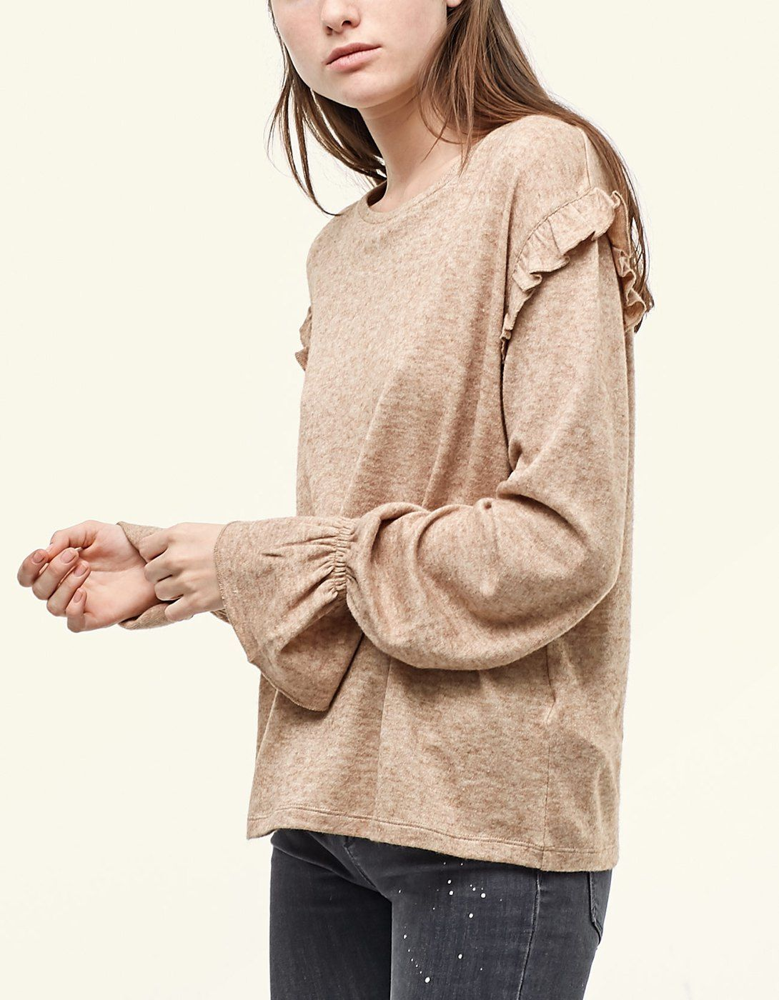 Bell sleeve top with shoulder frill detail T shirts