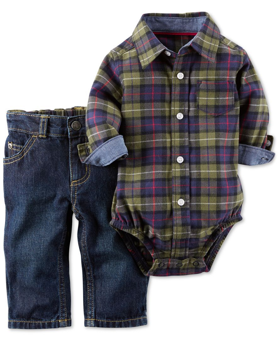 87b863c64 Carter's Baby Boys' 2-Piece Plaid Bodysuit & Denim Pants Set | Baby ...