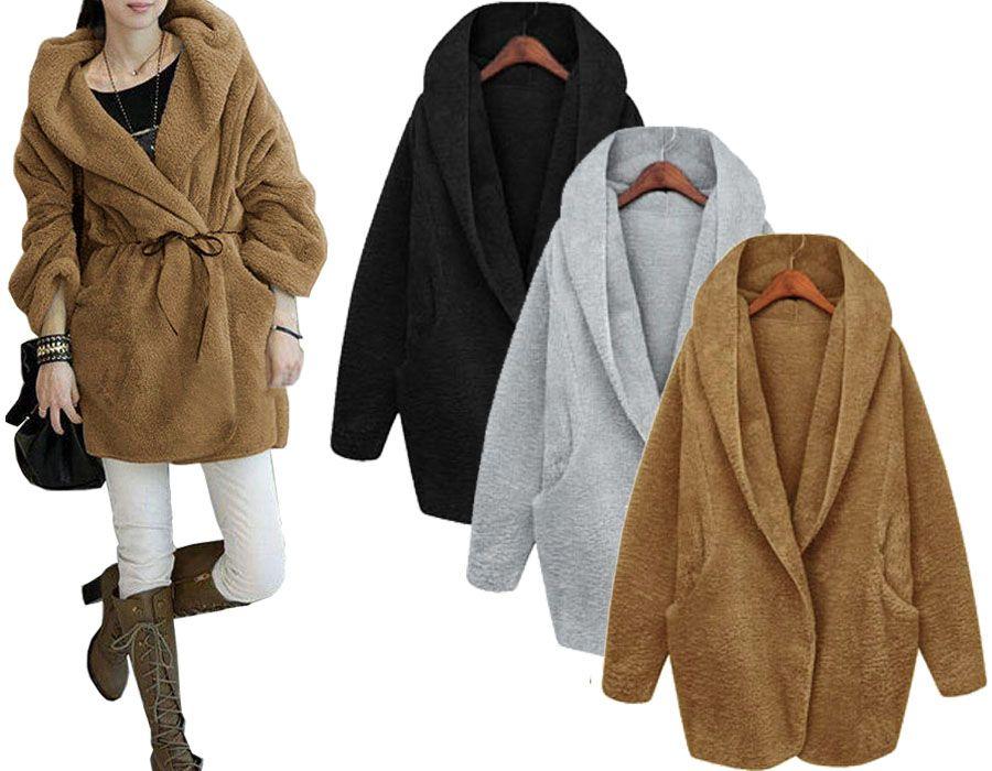 Futrzany Kardigan Narzuta Kaptur Plaszcz New P977 4826526678 Oficjalne Archiwum Allegro Jumpers And Cardigans Cardigan Hooded Jacket