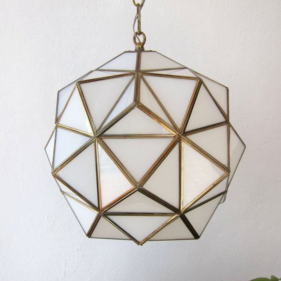 Pendant lamps - Vintage Opaline Glass Andalusian Lamp, Re-wired; Milk Glass And