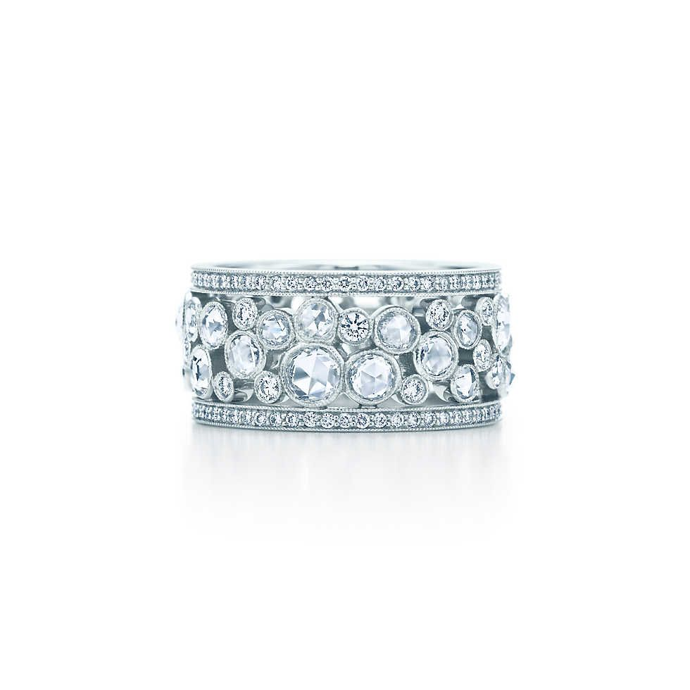 Perfect Anniversary present maybe Tiffany Cobblestone band ring in platinum with diamonds